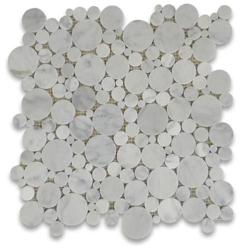 "Premium Carrera white marble random round pieces mounted on 12"" x 12"" sturdy mesh tile sheet."