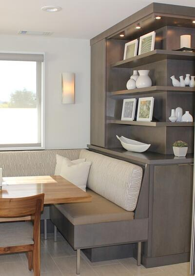 The clients love the idea of incorporating open shelving.