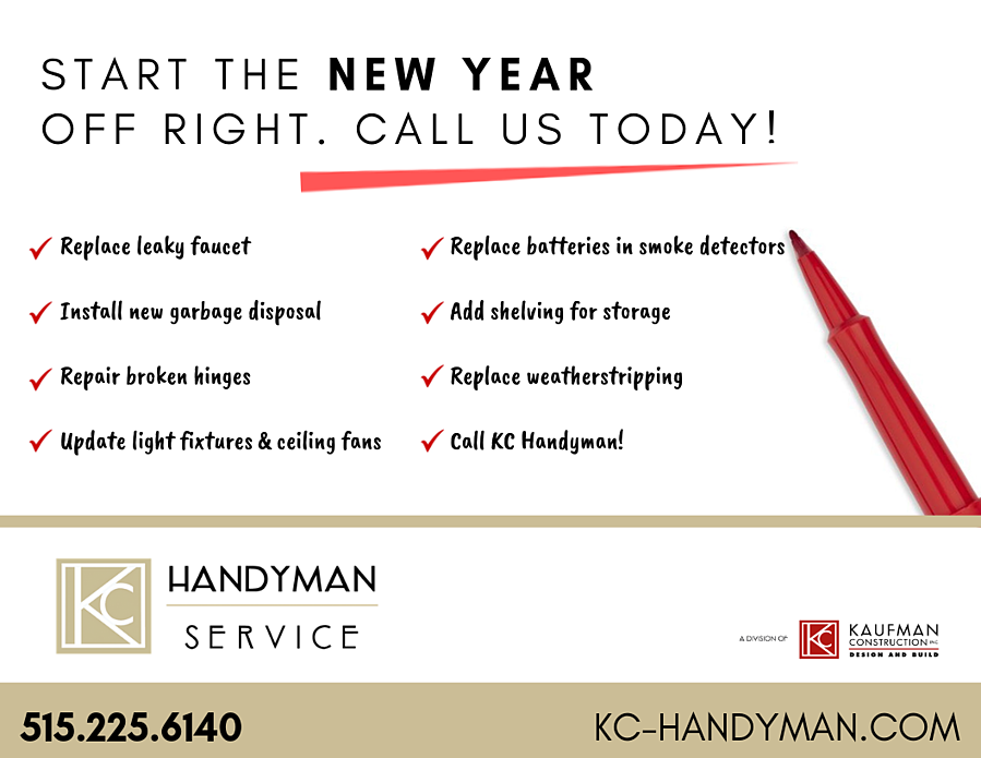 Start the NEW YEAR OFF RIGHT. Call us today!